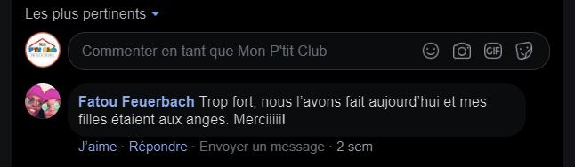Image de la recommandation Mon P'tit Club depuis Facebook